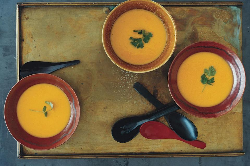 "Fresh lemongrass and cilantro brighten this velvety pumpkin soup. <a href=""https://www.epicurious.com/recipes/food/views/pumpkin-corn-and-lemongrass-soup-240545?mbid=synd_yahoo_rss"" rel=""nofollow noopener"" target=""_blank"" data-ylk=""slk:See recipe."" class=""link rapid-noclick-resp"">See recipe.</a>"