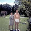 <p>Robert Shaw and Lotte Lenya on the set of 'From Russia with Love', 1963.</p>