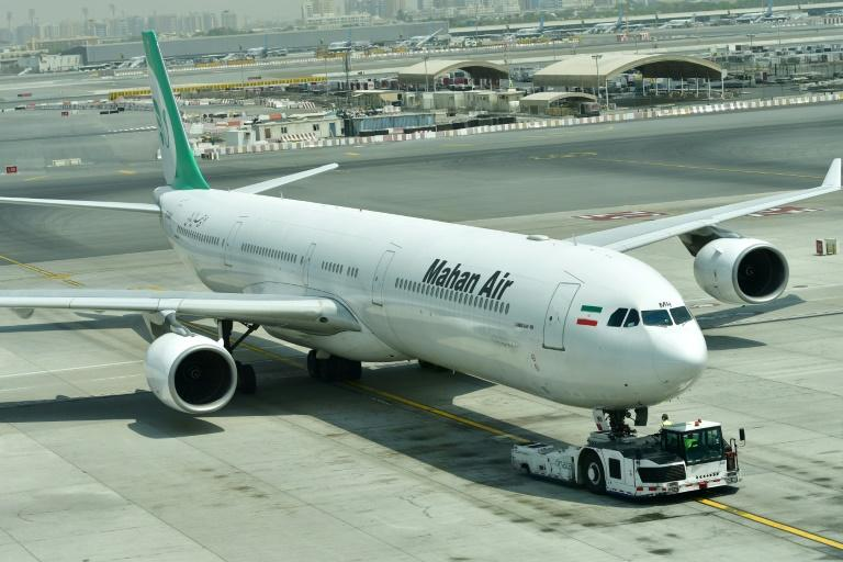 Under US sanctions: An Airbus A340 of Iran's Mahan Air at Dubai's International Airport in 2017