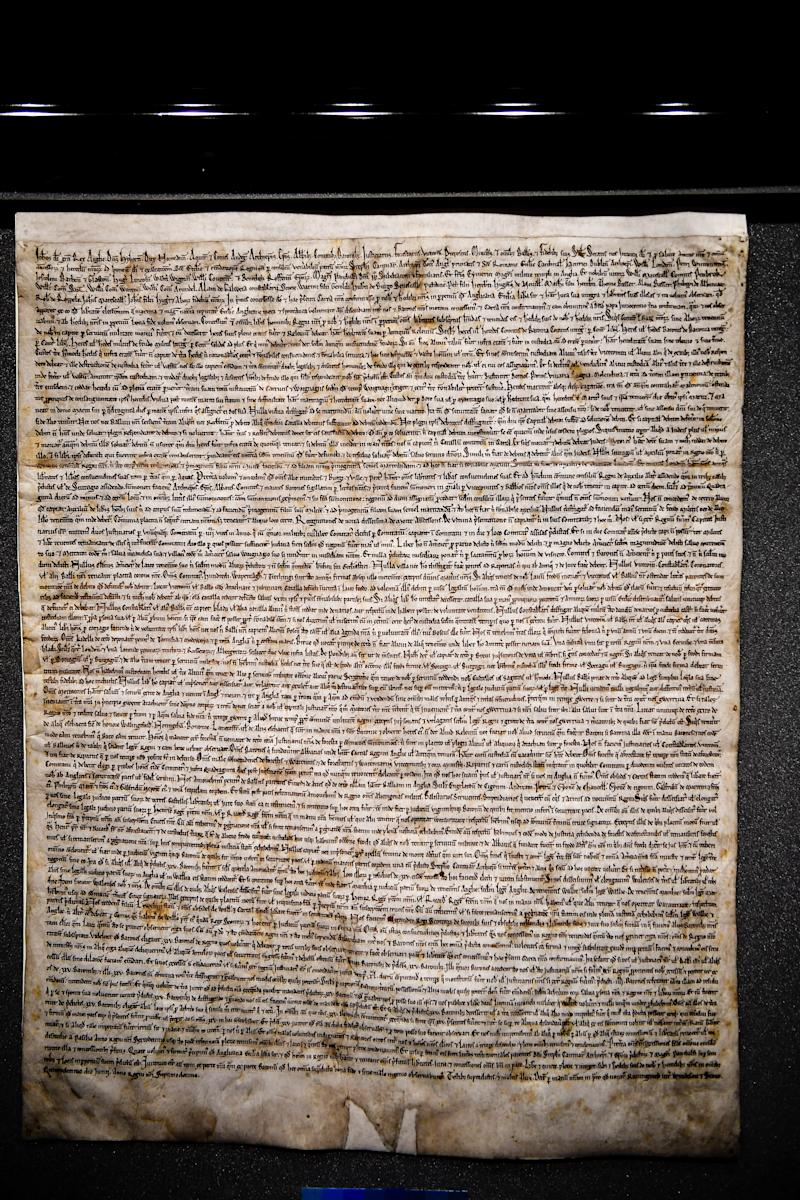 The reinstalled original Magna Carta inside the medieval Chapter House at Salisbury Cathedral, where it was attacked and had to be removed.