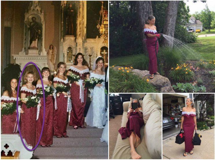 """Heidi Bruce Mann staged photos of herself wearing 1995 bridesmaid dress from friend Tammi's wedding : """"What do you mean sorry about the dresses? I wear mine all the time.""""<em> (Photos: Facebook/Tammi Kippes Sauer)</em>"""