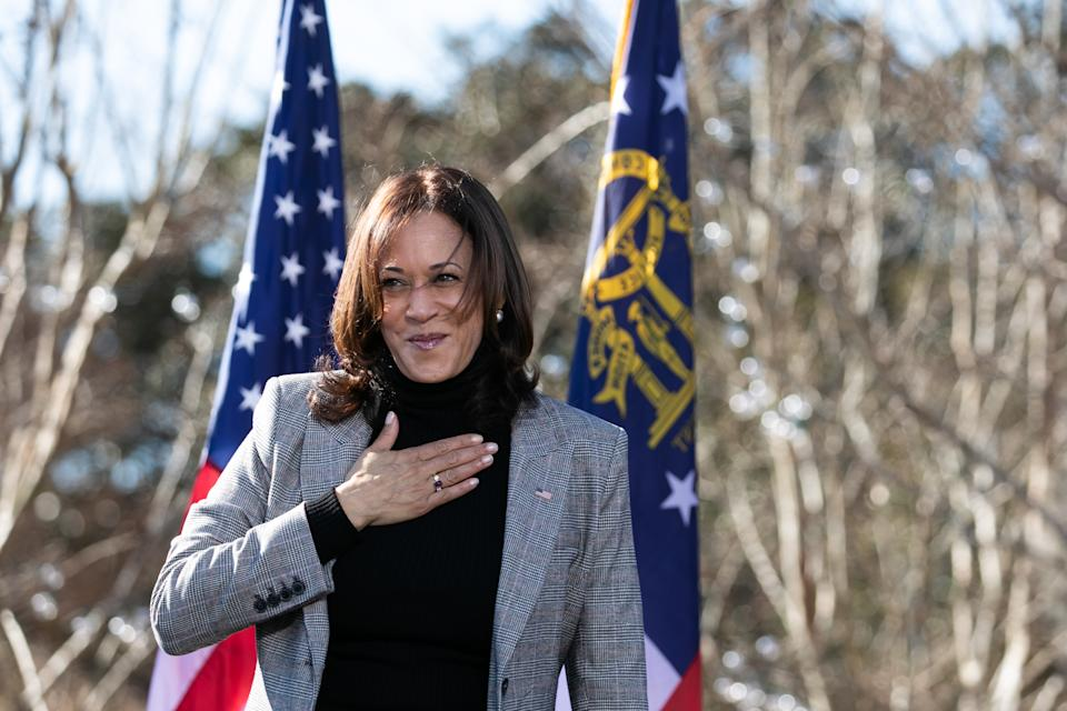 Vice President-elect Kamala Harris campaigns in support of Georgia Democratic Senate candidates Rev. Raphael Warnock and Jon Ossoff on Dec. 21 in Columbus, Georgia. (Jessica McGowan/Getty Images)