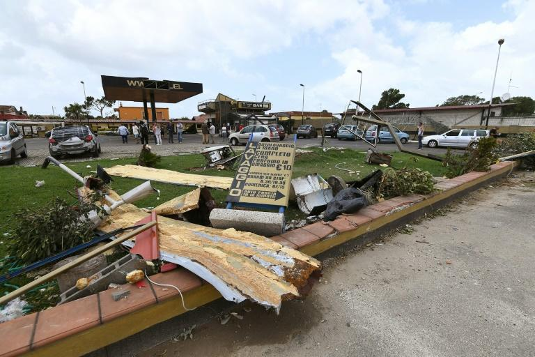 The deadly mini-tornado near Rome's Fiumicino airport devastated this petrol station
