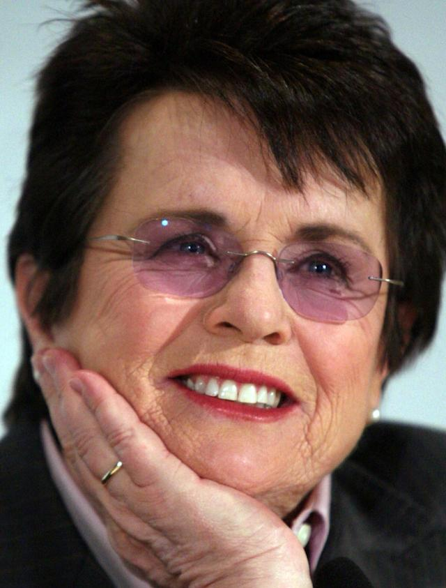 FILE - In this March 2, 2009 file photo, tennis great Billie Jean King listens during a news conference in New York. King believes standing up to discrimination is the best way to combat it. She will help lead the U.S. delegation in the opening ceremonies at the Sochi Olympics in Russia, which recently passed an anti-gay law. (AP Photos/Bebeto Matthews, File)