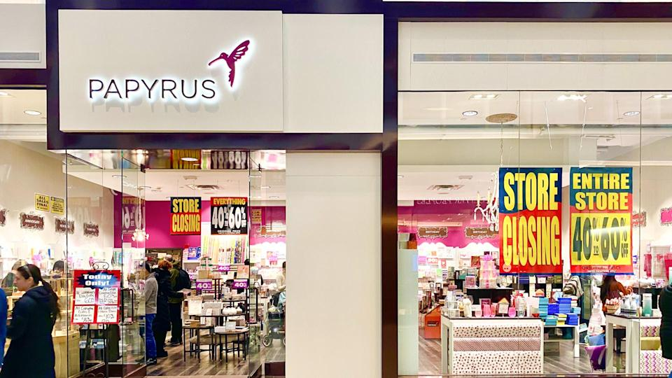 Boston, MA - February 7, 2020: Papyrus store in Prudential Center with closing signs in the windows.