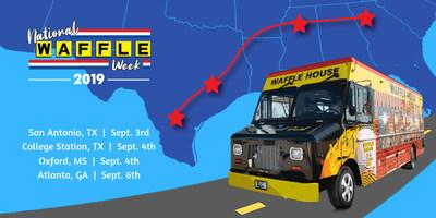 Waffle House celebrates the 2019 National Waffle Week with pop-ups in San Antonio, College Station, Oxford and Atlanta.