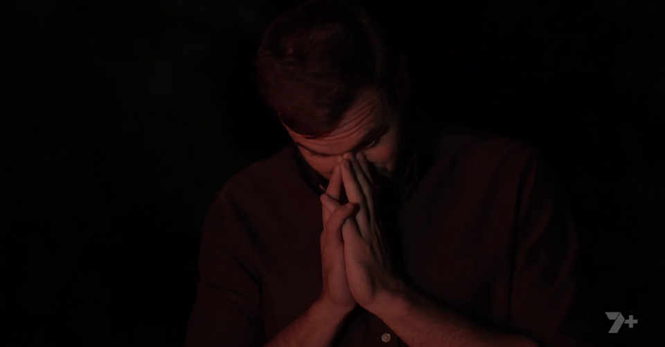 Farmer Andrew crying.