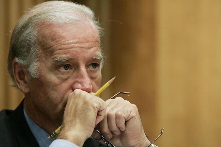 Sen. Joe Biden, D-Del., listens as Nicholas Burns, Undersecretary of State for Political Affairs, testifies at the Committee on Foreign Relations regarding Iran's nuclear ambitions Tuesday, Sept. 19, 2006, in Washington. (AP Photo/Charles Dharapak)