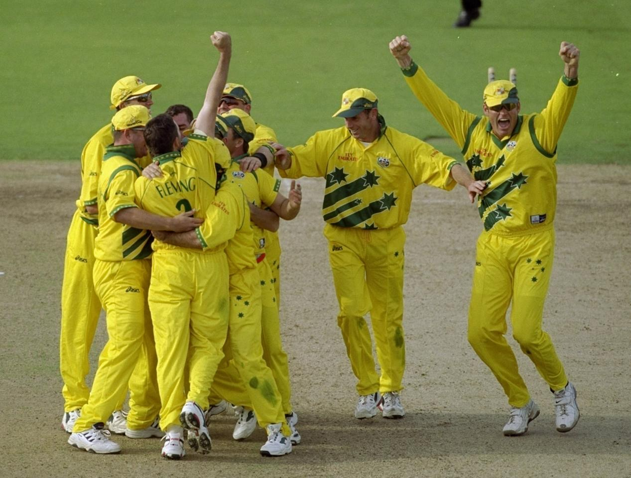 17 Jun 1999:  Australia celebrate reaching the final of the World Cup after a dramatic semi-final against South Africa at Edgbaston in Birmingham, England. The match finished a tie as Australia went through after finishing higher in the Super Six table.\ Mandatory Credit: Adrian Murrell /Allsport