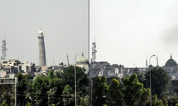 "<p>This combination of pictures shows (L) a picture taken on June 20, 2017, of Mosul's leaning Al-Hadba minaret and (R) a picture taken on June 22, 2017 of Mosul's skyline missing it's trademark minaret the day after it was blown up by Islamic State (IS) group fighters. Explosions on June 21 evening levelled both the Nuri mosque where Abu Bakr al-Baghdadi gave his first sermon as leader of the Islamic State group and its ancient leaning minaret, known as the ""Hadba"" (Hunchback). (Photo: Mohamed el-Shahed/AFP/Getty Images) </p>"