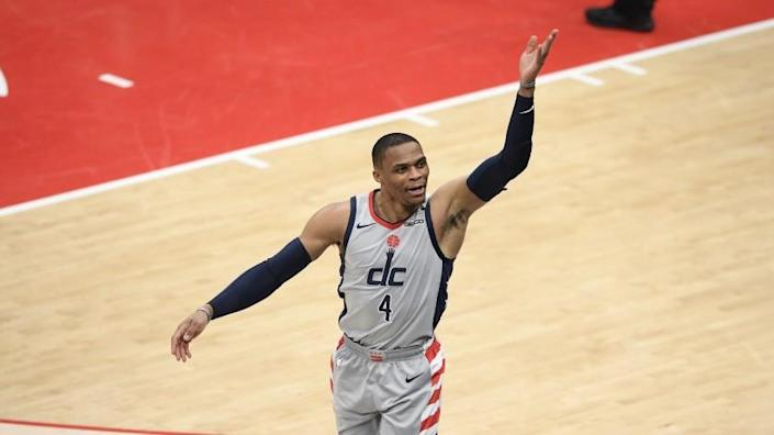 Washington Wizards guard Russell Westbrook (4) reacts during the second half of an NBA basketball Eastern Conference play-in game against the Indiana Pacers, Thursday, May 20, 2021, in Washington. (AP Photo/Nick Wass)