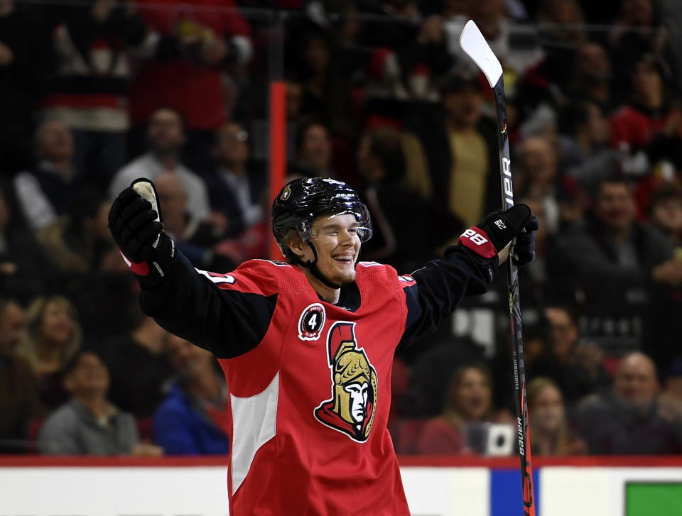 Ottawa Senators left wing Vladislav Namestnikov (90) celebrates his goal during the first period of an NHL hockey game against the Buffalo Sabres, Tuesday, Feb. 18, 2020 in Ottawa, Ontario. (Justin Tang/the Canadian Press via AP)