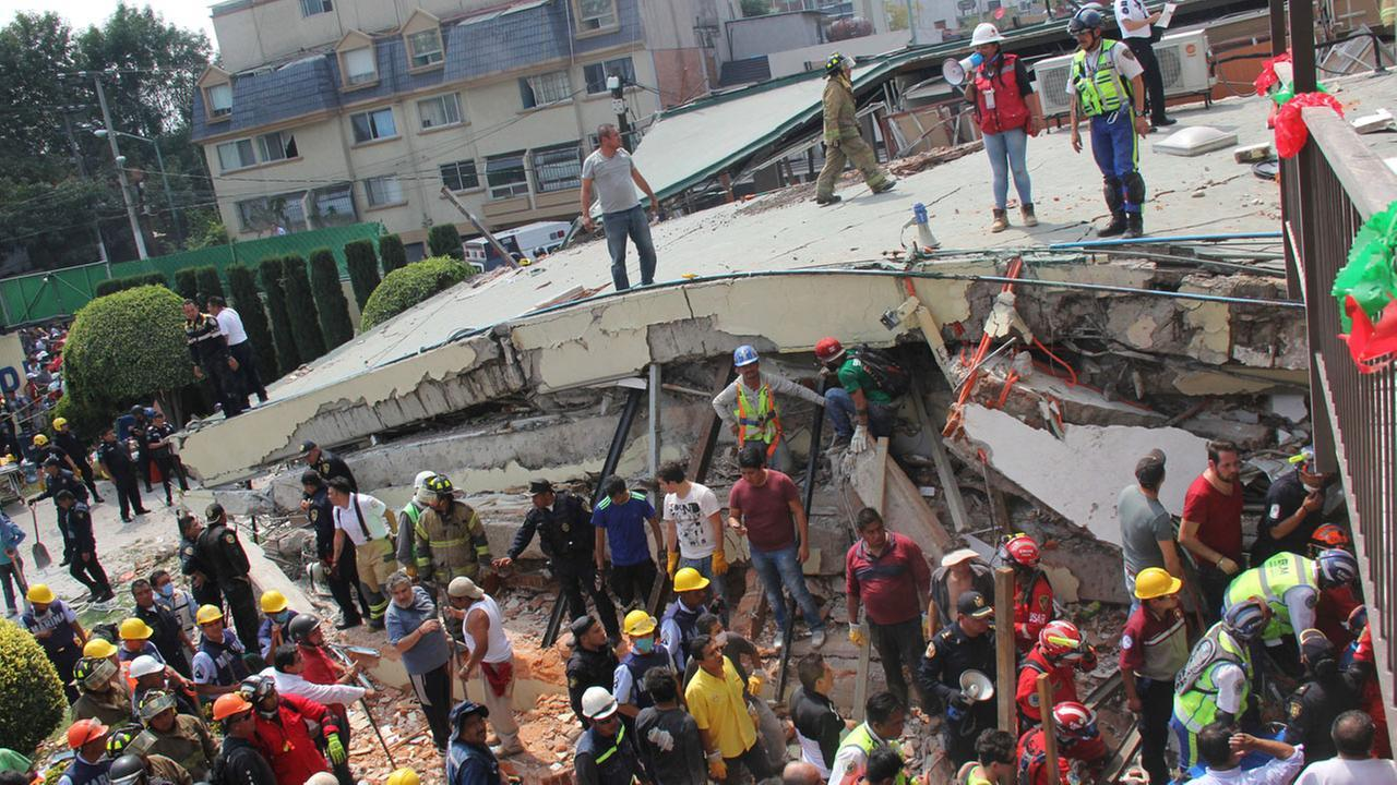 Mexico's president says 22 people have died at a school that collapsed in the nation's capital due to Tuesday's 7.1 earthquake.