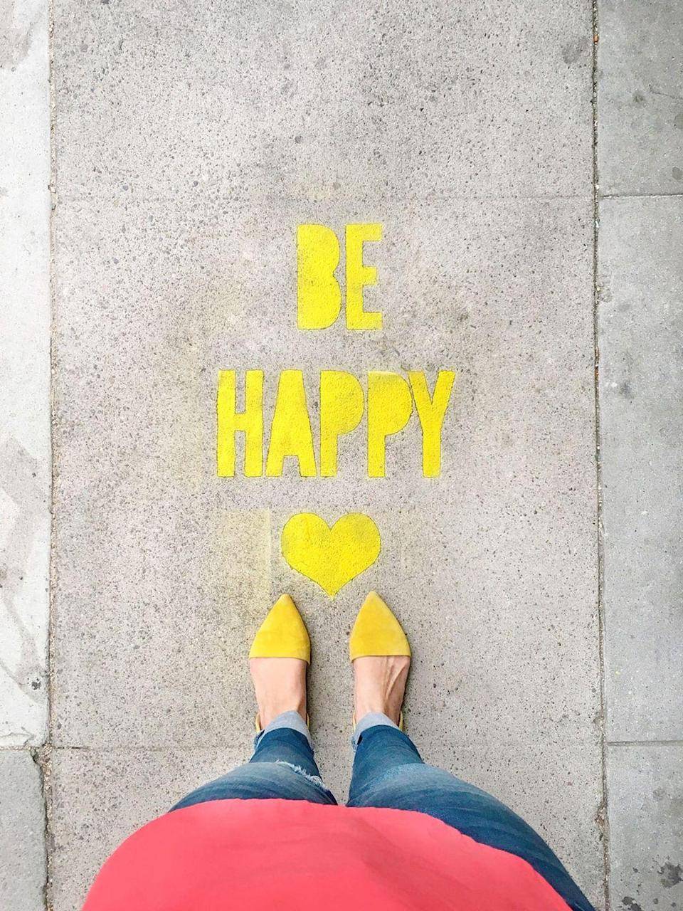 """<p>Buy or make stencils bearing cheerful or inspiring messages to serve as fun — even moving — affirmations for all who pass by. Think """"Be You"""" or """"Be Happy"""" — or whatever feels right.</p><p><em><a href=""""https://lovelyindeed.com/diy-stencil-spray-chalk-sidewalk-messages"""" rel=""""nofollow noopener"""" target=""""_blank"""" data-ylk=""""slk:Get the tutorial from Lovely Indeed »"""" class=""""link rapid-noclick-resp"""">Get the tutorial from Lovely Indeed »</a></em></p>"""