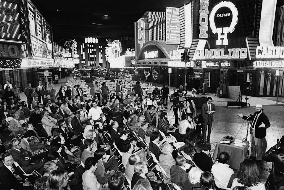 <p>Filmmaker Francis Ford Coppola unveils the indoor recreation of the Las Vegas strip inside a Los Angeles movie studio. The Sin City replica was built for his film <em>One From the Heart</em>.</p>