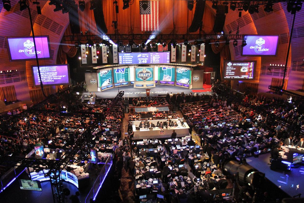 The stage is set at Radio City Music Hall for the 2014 NFL Draft on Thursday May 8th, 2014 in New York. (Jamie Herrmann/AP Images)