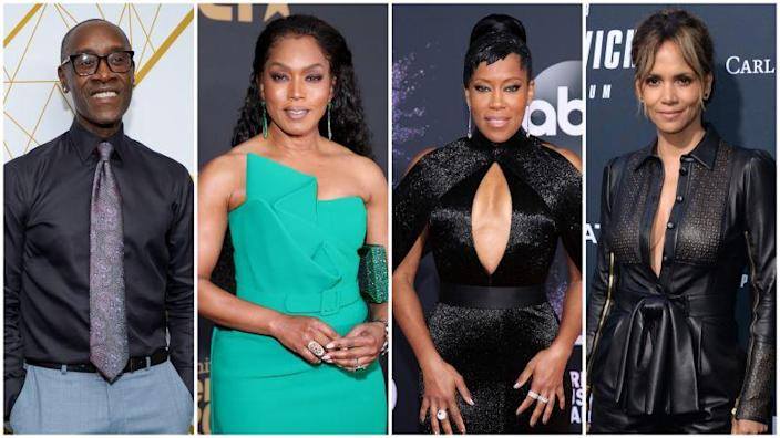 "Don Cheadle at the Showtime Emmy Eve Nominees Celebrations on September 21, 2019 in West Hollywood, California; Angela Bassett attends the 51st NAACP Image Awards on February 22, 2020 in Pasadena, California; Regina King at the 2019 American Music Awards on November 24, 2019 in Los Angeles, California; Halle Berry celebrates the premiere of ""John Wick: Chapter 3 - Parabellum"" on May 15, 2019 in Los Angeles, California."