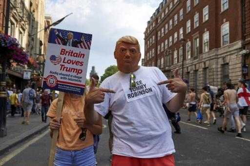 Supporters of the US president at a pro-Trump rally in London on Saturday