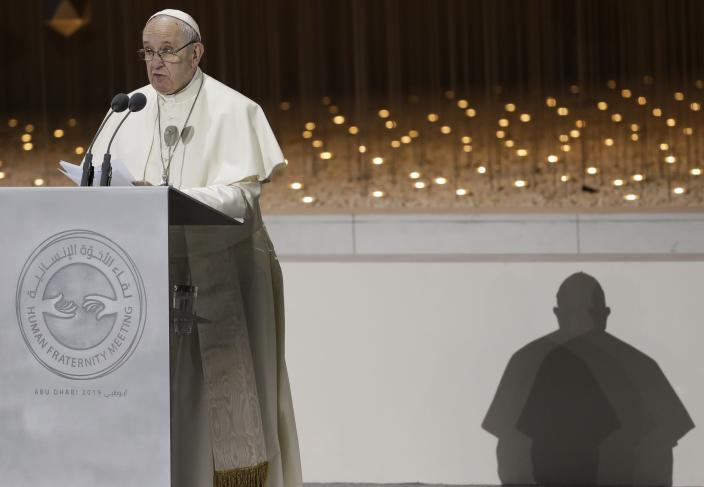 Pope Francis delivers his speech during an Interreligious meeting at the Founder's Memorial in Abu Dhabi, United Arab Emirates, Monday, Feb. 4, 2019. Pope Francis arrived in Abu Dhabi on Sunday. His visit represents the first papal trip ever to the Arabian Peninsula, the birthplace of Islam. (AP Photo/Andrew Medichini)