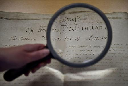A rare handwritten copy of the U.S. Declaration of Independence is seen at the West Sussex Record Office in Chichester in south England