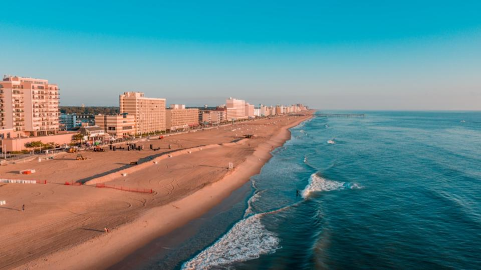 cityscape photo of a beach and hotels in Virginia Beach, Virginia
