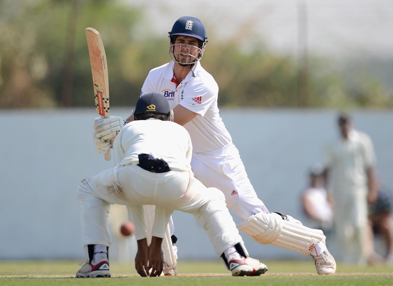 AHMEDABAD, INDIA - NOVEMBER 11:  England captain Alastair Cook bats during day four of the tour match between England and Haryana at Sardar Patel Stadium ground B on November 11, 2012 in Ahmedabad, India.  (Photo by Gareth Copley/Getty Images)