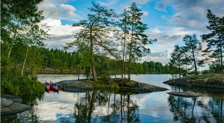 Lake with trees and rocks in the Dalsland Lake District in Sweden