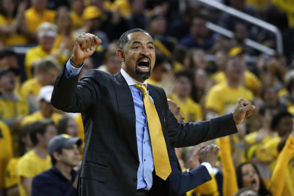 FILE - In this Saturday, Feb. 8, 2020, file photo, Michigan head coach Juwan Howard reacts to a call in the first half of an NCAA college basketball game against Michigan State, in Ann Arbor, Mich. Howard's 2021 class is rated No. 1 in the 247Sports composite. (AP Photo/Paul Sancya, File)