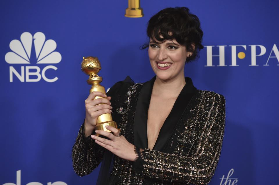 "Phoebe Waller-Bridge poses in the press room with the award for best performance by an actress in a television series, musical or comedy, for ""Fleabag"" at the 77th annual Golden Globe Awards at the Beverly Hilton Hotel on Sunday, Jan. 5, 2020, in Beverly Hills, Calif. (AP Photo/Chris Pizzello)"