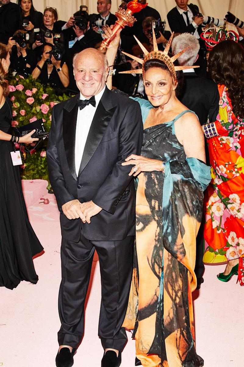 Diane von Furstenberg on the red carpet at the Met Gala in New York City on Monday, May 6th, 2019. Photograph by Amy Lombard for W Magazine.