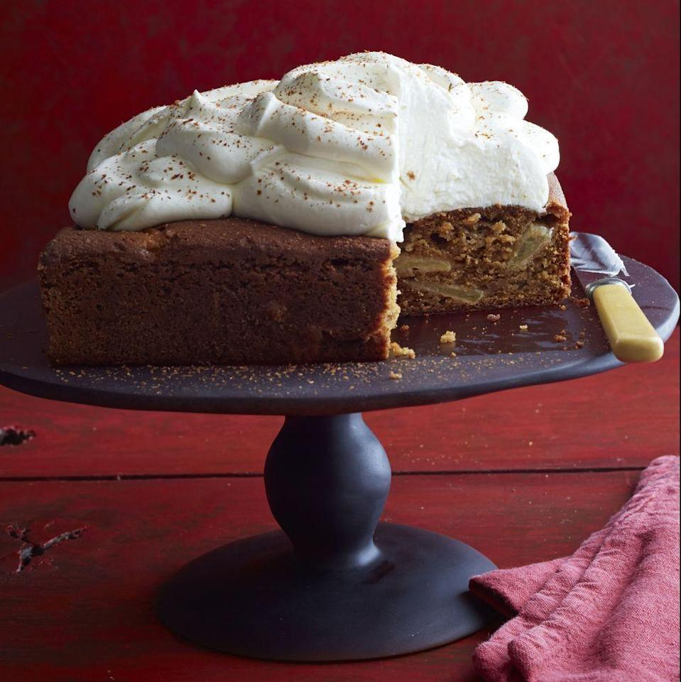 """<p>Sour cream in both the batter <em>and</em> the frosting gives this apple-filled cake extra richness and a little tang.</p><p><em><a href=""""https://www.womansday.com/food-recipes/food-drinks/recipes/a12022/apple-spice-cake-recipe-wdy1014/"""" rel=""""nofollow noopener"""" target=""""_blank"""" data-ylk=""""slk:Get the recipe from Woman's Day »"""" class=""""link rapid-noclick-resp"""">Get the recipe from Woman's Day »</a></em></p>"""