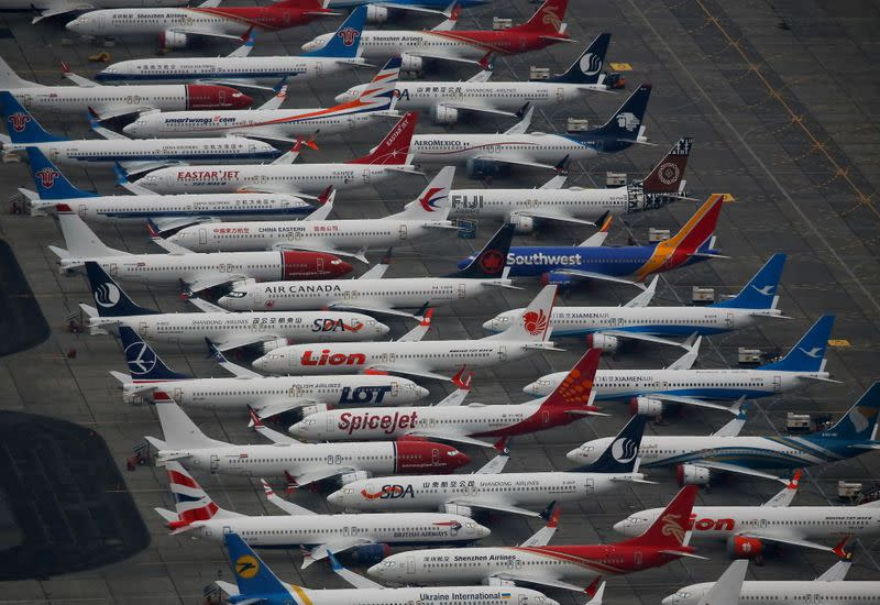 Dozens of grounded Boeing 737 MAX aircraft are seen parked at Grant County International Airport in Moses Lake