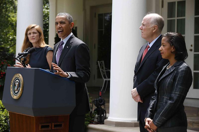 President Barack Obama stands with, UN Ambassador Susan Rice, his choice to be his next National Security Adviser, right, current National Security Adviser Tom Donilon, who is resigning and Samantha Power, his nominee to be the next United Nations Ambassador, Wednesday, June 5, 2013, in the Rose Garden at the White House in Washington. (AP Photo/Charles Dharapak)