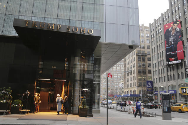 "The Trump SoHo hotel in New York in December 2016. Last season, the <a class=""link rapid-noclick-resp"" href=""/nba/teams/cle/"" data-ylk=""slk:Cleveland Cavaliers"">Cleveland Cavaliers</a> made other arrangements for players who did not want to stay at a New York hotel branded by President-elect Donald Trump. (AP)"