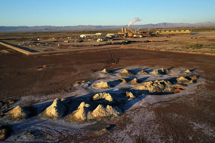 Mounds of dirt near a geothermal plant in the Salton Sea area
