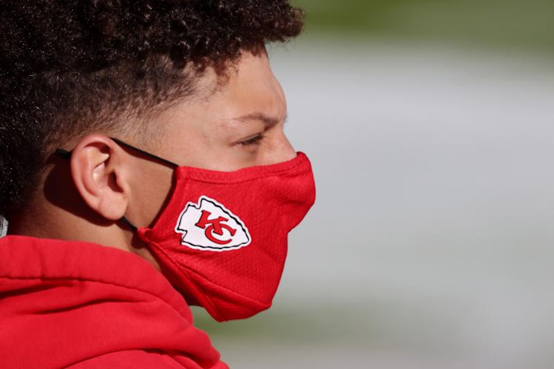 Kansas City Captain Patrick Mahomes # 15 kick-off ahead of his match against the New York Jets at Arrowhead Stadium on November 1, 2020 in Kansas City, Missouri.  (Photo by Jamie Squire / Getty Images)