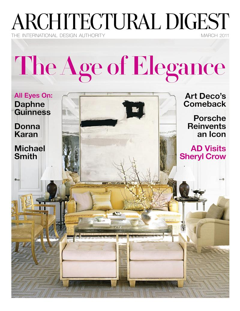 This magazine cover image courtesy of Architectural Digest shows the March 2011 issue of Architectural Digest. Luxury home magazines that provide readers a peek inside some of the swankiest, most interesting abodes around the world are getting a freshening up _ from new editors and publishers to new approaches to technology.    (AP Photo/Architectural Digest) NO SALES; EDITORIAL USE ONLY