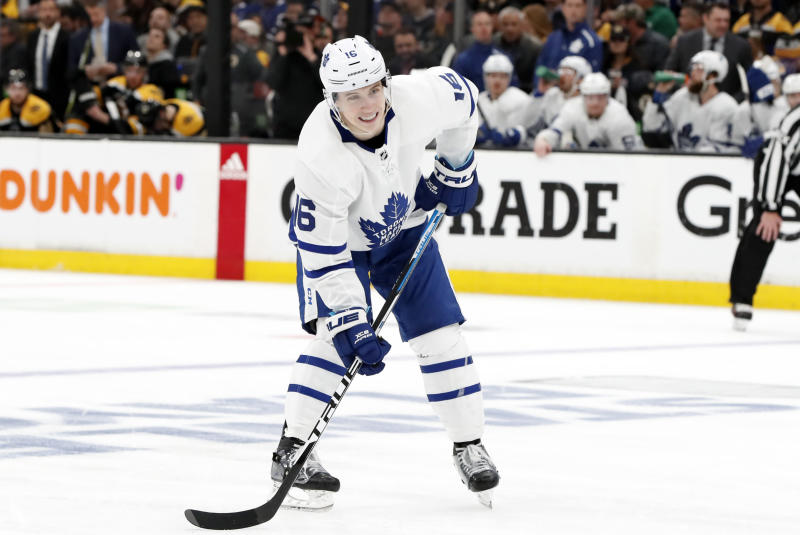 BOSTON, MA - APRIL 23: Toronto Maple Leafs right wing Mitchell Marner (16) sets up at the point on the power play during Game 7 of the 2019 First Round Stanley Cup Playoffs between the Boston Bruins and the Toronto Maple Leafs on April 23, 2019, at TD Garden in Boston, Massachusetts. (Photo by Fred Kfoury III/Icon Sportswire via Getty Images)