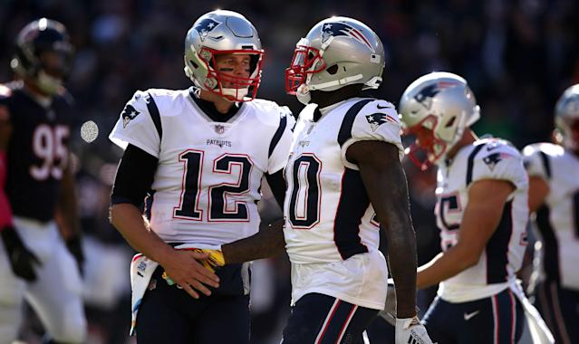 Josh Gordon and Tom Brady have connected for three touchdowns this season. (Getty Images)