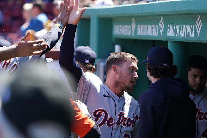 Detroit Tigers left fielder JaCoby Jones (21) reacts after scoring on a sacrifice out by center fielder Akil Baddoo (60) (not pictured) against the Boston Red Sox in the third inning May 6, 2021 at Fenway Park.