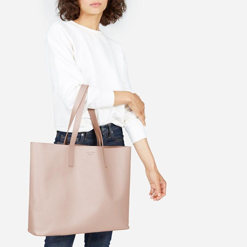 "Functions as a cute purse <i>and</i> is big enough to store baby essentials. Get the coveted market tote by Everlane <a href=""https://www.everlane.com/products/womens-day-market-tote-paleblush?collection=petra"" target=""_blank"">here</a>."
