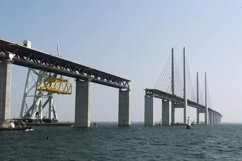 This is an undated photo showing the Oresund bridge which will tie Sweden and Denmark by road. The construction is a combined road-and-rail link and is 16-kilometer (10 miles) long . The final section goes into place Saturday, August 14, 1999. (AP Photo/Nordfoto, Soeren Steffen )