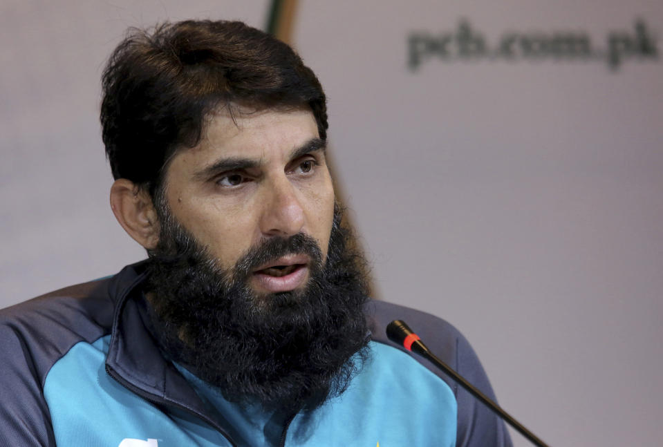 FILE - In this Feb. 1, 2020 file photo, Head Coach of Pakistan Cricket team Misbah-ul-Haq addresses a press conference in Lahore, Pakistan. Haq and Waqar Younis have quit their coaching roles with the Pakistan cricket team on Monday, Sept. 6, 2021, a month before the T20 World Cup in the United Arab Emirates. (AP Photo/K.M. Chaudary, File)
