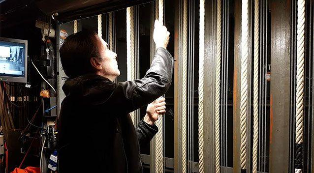 he Sydney Opera House's Head of Lighting, Andrew Richards, checks out the manual counter-weighted fly lines. Photo: AAP