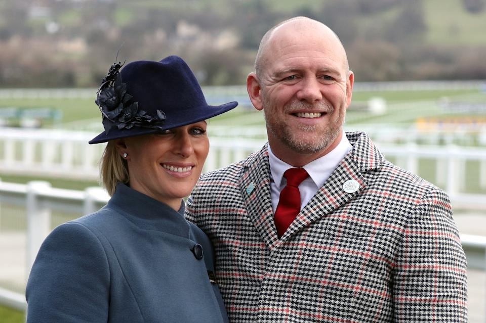 Zara Tindall and Mike Tindall during day three of the Cheltenham Festival at Cheltenham Racecourse. (Photo by Andrew Matthews/PA Images via Getty Images)