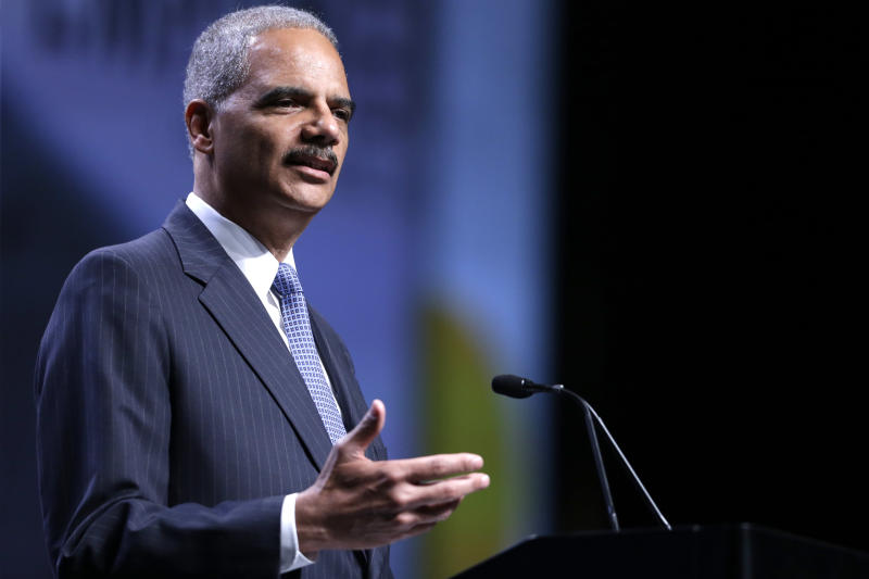 Attorney General Eric Holder speaks at the National Urban League annual conference, Thursday, July 25, 2013, in Philadelphia. Holder announced Thursday the Justice Department is opening a new front in the battle for voting rights in response to a Supreme Court ruling that dealt a major setback to voter protections. (AP Photo/Matt Rourke)