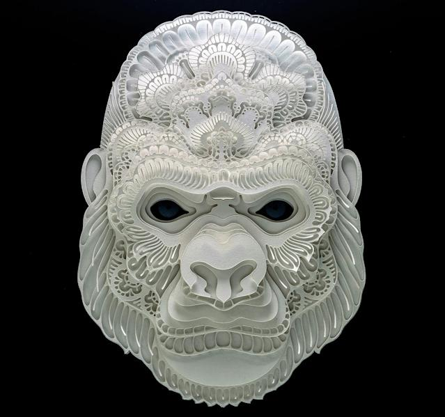 <p>Intricate paper cut out of a gorilla. (Photo: Patrick Cabral/Caters News </p>