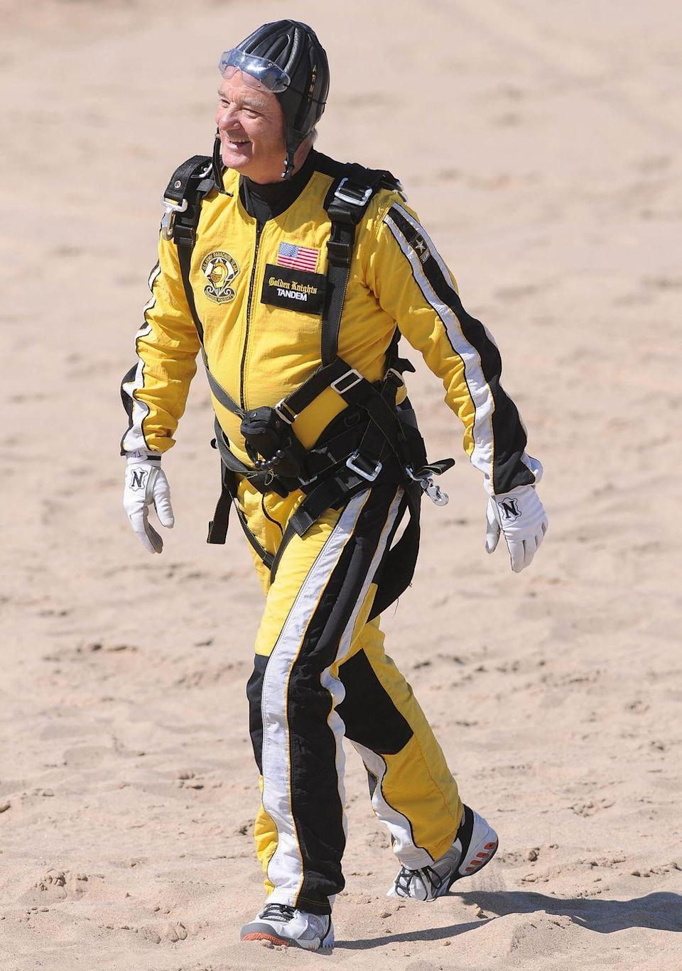 <p>Bill Murray is shown after skydiving tandem with the U.S. Army parachute team the Golden Knights at the 50th Chicago Air and Water Show on August 15, 2008 in Chicago, Illinois.</p>