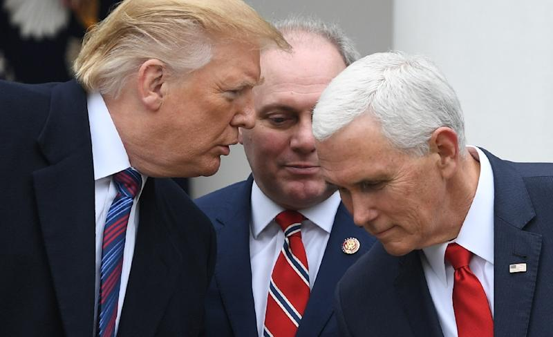 Republican lawmaker Steve Scalise (C), seen here at a recent White House briefing with President Donald Trump and Vice President Mike Pence, said on January 13, 2019 that he does not want to see Trump invoke an emergency to secure funds for a wall (AFP Photo/SAUL LOEB)