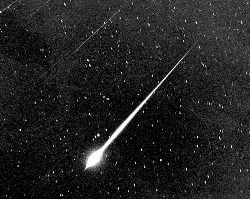 This Bright Leonid Fireball Is Shown During The Storm Of 1966 In The Sky Above Wrightwood, Calif. The Leonids Occur Every Year On Or About Nov. 18Th And Stargazers Are Tempted With A Drizzle Of 10 Or 20 Meteors Fizzing Across The Horizon Every Hour. But Every 33 Years A Rare And Dazzling Leonids Storm Can Occur But, Astronomers Believe The 1999 Edition Of The Leonids Probably Won'T Equal 1966, Which Peaked At 144,000 Meteors Per Hour. (Courtesy Of (Photo By Nasa/Getty Images)